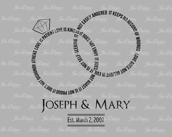 Love is patient SVG DXF EPS, wedding ring file, 1 Corinthians file, wedding verse file, wedding file, svg file, svg for cricut, silhouette