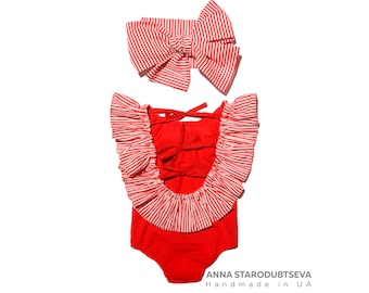 Red baby girl all in one swimsuit (baby one piece swimming costume) Ready to ship baby girl bathing suits Cute baby swimwear by BabyLadySwim