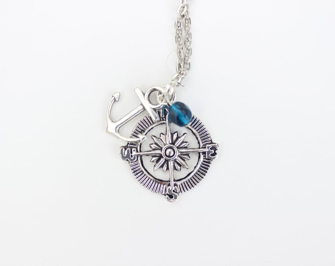 Travel Necklace, Nautical themed, silver compass with anchor and blue bead necklace.
