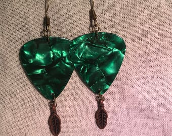 Green Guitar pick earrings with bronze feathers