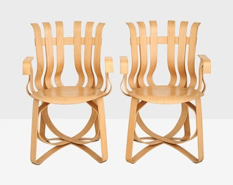 frank gehry hat trick arm chairs, gehry hat trick chairs, hat trick chairs, midcentury modern chairs, gehry chair, knoll bent plywood chair