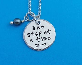 one step at a time, recovery necklace, addiction recovery, inspirational necklace, encouragement necklace, alcohol recovery, sobriety