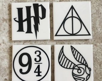 Harry Potter coaster set. HP coasters. Tile coasters. White coasters