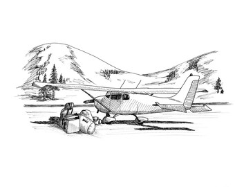 Excess Baggage Aviation Airplane Drawing Print