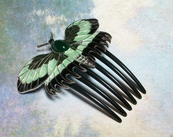 "Butterfly Hair Comb Titanic ""Rose""  Handmade~ each one unique"