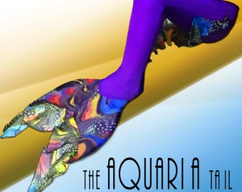 """swimmable girls mermaid tail - """"Aquaria"""" INCLUDES MONOFIN Linden bodyglove"""