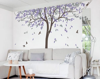 Nursery Willow Tree Wall Decal Wall Sticker - Tree Wall Decal  birds - MM005_B