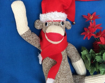 Vintage Sock Monkey with Christmas Santa Hat & Scarf Needs Good Home