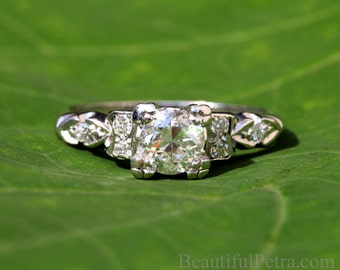 ART DECO - platine Diamond Engagement Ring - Antique style 85 carats - Custom made mariées - mariages - - luxe - BpD02