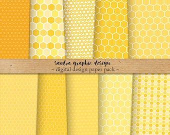 Yellow honeycomb digital paper pack, honeycomb patterns in shades of yellow and other colors, 24 JPEG files (1113)