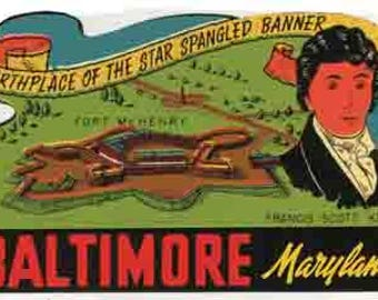 Vintage Style   Baltimore MD Maryland   1950's     Travel Decal sticker