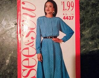 SEE & SEW, 4437, sewing pattern, size A, 6, 8, 10, 12, 14, dress, long sleeve, sewing, pattern, shirt dress