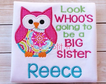 Big Sister Owl Applique Design For Machine Embroidery Personalized with Behind These Hazel Eyes Font NOT Included INSTANT DOWNLOAD available