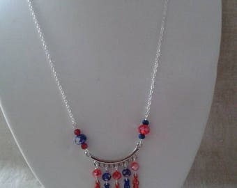 "necklace ""red and blue beads and silver chandelier"""