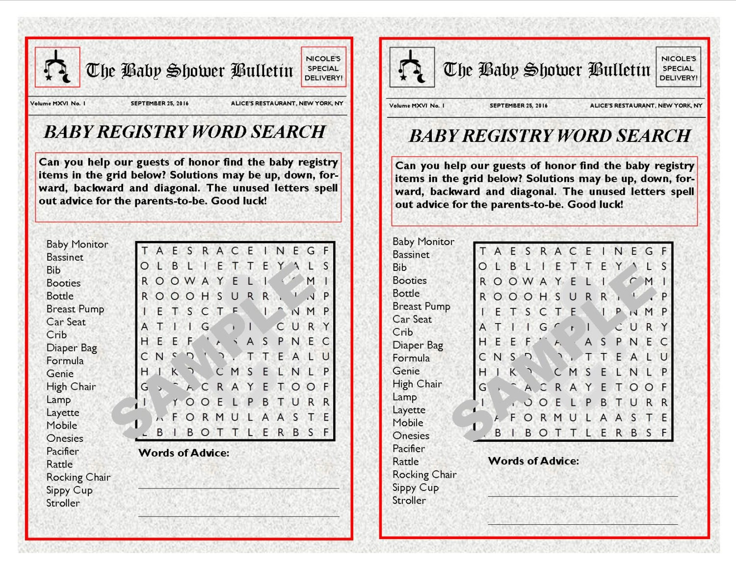 baby registry newspaper theme printable word search with