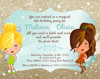Tinkerbell & Fawn Twins Birthday Party INVITATION Design- digital file