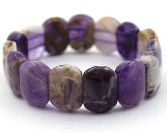 """20mm natural amethyst stretch bracelet 7.5"""" 36860"""