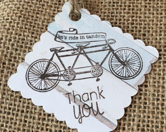Wedding Thank You Tags, Tandem Bicycle, Beach, Rustic Theme