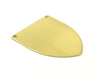 Brass Stamping Blank, 6 Raw Brass Stamping Blanks, Emblem (37x31x0.80mm) B0086
