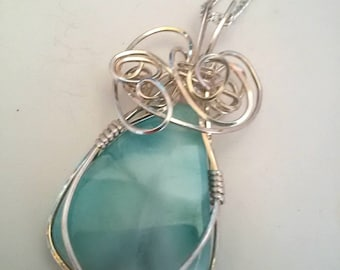 Larimar pendant,  larimar pendant wrapped in sterling silver wire, larimar pendant necklace.