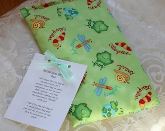 Children's Rice Bag, Insects, Bugs, Boy, Frog, Little Critters, Green, Kid, Boo Boo Bag, Large, Therapy Bag