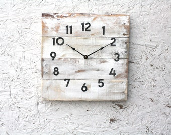 Wall clock, shabby chic, cottage chic, lake house style pallet wood clock.  Reclaimed wood wall clock.