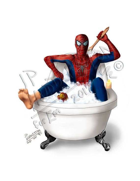 Spiderman Superhero Bathroom Bathtub Set Prints Superman