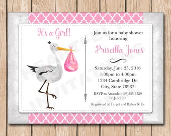 Stork baby shower etsy girl stork baby shower invitation filmwisefo