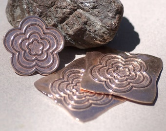 Copper Flower Conical 5 petals Blank 30.5mm 20g Cutout for Enameling Metalworking Blanks