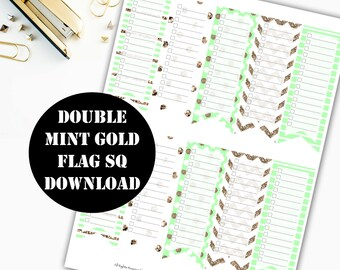 Double Mint Gold Flag Printable Planner Stickers // Erin Condren Printable / Plum Paper / Planner Insert Instant Digital Download 00012