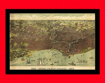 Old Map of Grand View of Chicago Old map Art Reproduction Office decoration Vintage Retro Map Reproduction Vintage Mapt