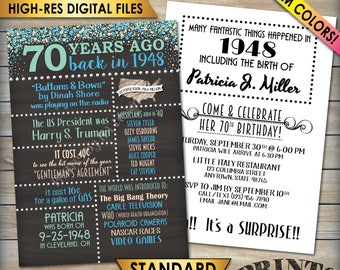 "70th Birthday Invitation, 1948 Invite, Born in 1948 Flashback 70 Years Ago, 70th Invite, PRINTABLE 70th Bday 5x7"" Chalkboard Style Invite"