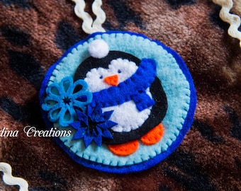 Christmas tree decoration, Penguin - Felt Christmas tree decoration - Christmas penguins by Nadina creations