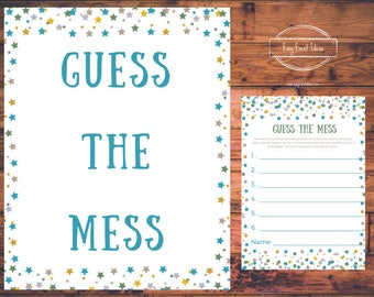 Printable Little Star Baby Shower Guess the Mess Instant Download