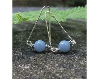 Dangle Drop Earrings, Angelite Gemstone Sterling Earrings, Casual Earrings, Wire Earrings, Boho Gemstone Jewelry