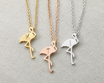 Personalized Flamingo Necklace Flamingo Jewelry Inspirational Her Flamingo Rose Gold Necklace Music Gift - SFMN *
