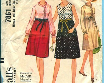 McCalls 7861 High Waisted Dress Vintage 1960s Sewing Pattern Misses Juniors Size 12 Bust 32