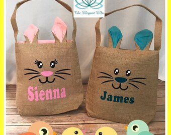 Personalized Easter tote bag, kids easter tote bags, bunny tote bag, easter basket, burlap easter bag