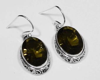 """Sterling Silver Smoky Quartz Earrings, Silver Earrings, Quartz Earrings, Smoky Quartz .925 Sterling Silver Earrings 1.25""""x0.5"""" (With Hook)"""