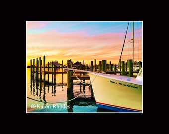 Miss Kathleen Sunset Ocracoke Photographic Print matted in black North Carolina