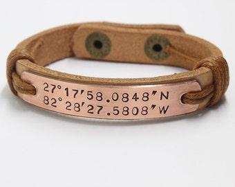 Personalized Coordinate Bracelet, Man's Bracelet, Braided Bracelet, Custom Copper Bracelet, Natural leather Bracelet, Hand Stamped Bracelet