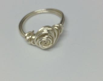 Rose ring, silver rose ring, Sterling silver rose ring, silver wire ring