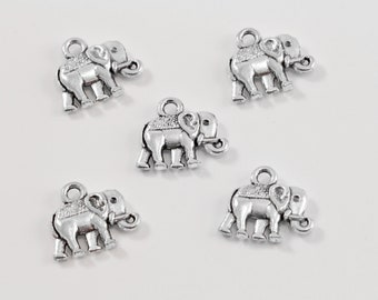 Elephant Antique Silver Tone Charms...Nature Charms..Lot of Five...Animal Charms...