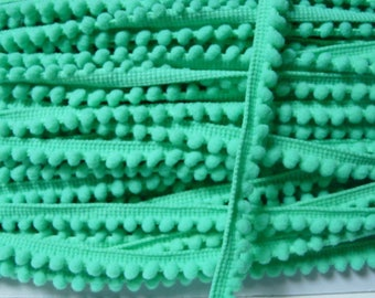 Ribbon 6 mm Green Pompom trim
