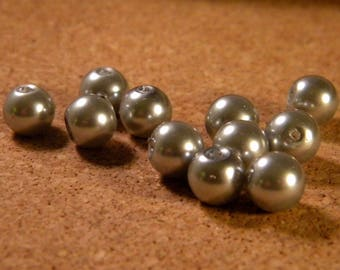 50 glass Pearl 8 mm - grey - AP14 iridescent beads
