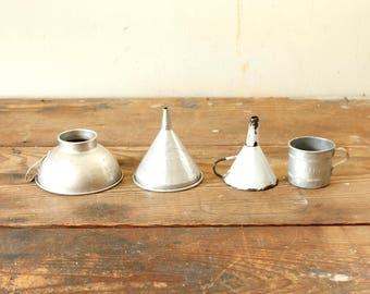 Collection of Primitive Rustic Vintage Metal Enamel Funnels for Display Industrial Farmhouse Style