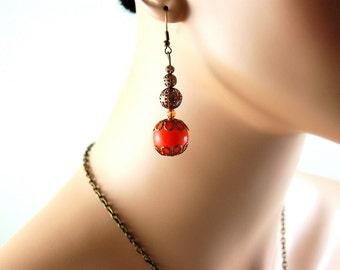 Orange Earrings, Copper earrings, Dangle Drop Boho Chic earings, Copper Jewelry, Bohemian earrings, Long earrings Jewelry sets, Gift for her