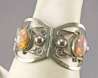 Vintage Sterling Braclet With Cezch Glass Beads Silver Bangle Ethnic Jewelry Mexican Taxco Bangle
