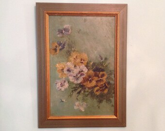 Original framed oil painting on board pansy flowers floral wood frame wall art hanging romantic cottage shabby chic farmhouse home decor