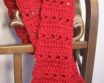 Red Eyelet Flowers - Hand Crocheted Scarf -  3.5x48 Mother Daughter By Distinctly Daisy